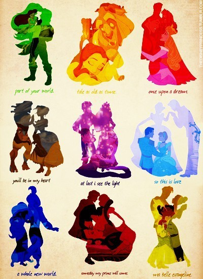Disney Couples Silhouettes