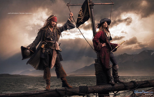 "Disney wallpaper with a rifleman titled Disney Dream Portraits: Johnny Depp as Jack Sparrow and Patti Smith as ""Second Pirate"""