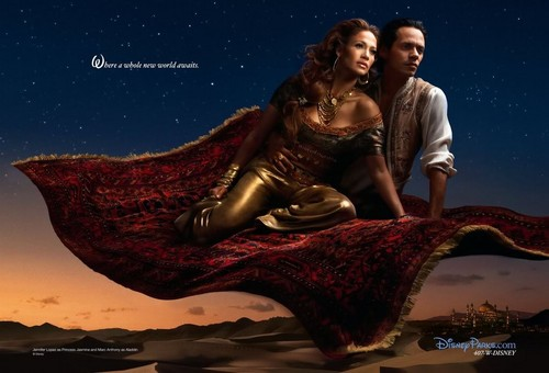 disney Dream Portraits: Jennifer Lopez as melati and Marc Anthony as aladdin