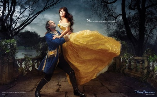 Disney Dream Portraits: Penelope Cruz as Belle and Jeff Bridges as Adam/the Beast