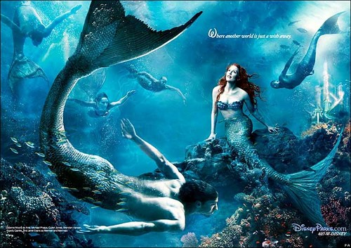 Disney Dream Portraits: Jodie Foster as Ariel and Michael Phelps as a Merman - disney-princess Photo