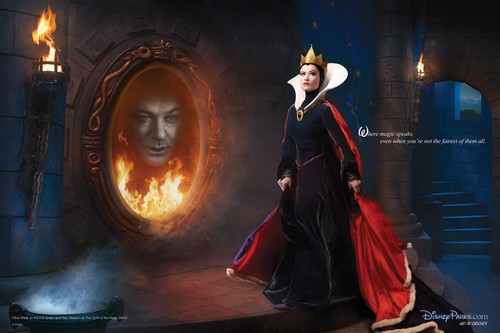 disney Dream Portraits: Olivia Wilde as the Evil queen and Alec Baldwin as the Magic Mirror