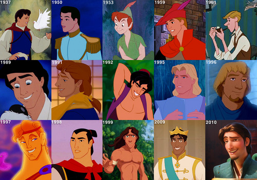 Disney Princes/Leading Men Over the Years
