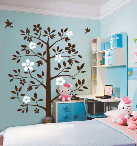 ہوم Decorating پیپر وال containing a living room, a dressing table, and a family room entitled پھول درخت With Flying Birds دیوار Sticker