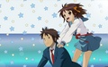 Haruhi and Kyon - kyon-the-melancholy-of-haruhi-suzumiya wallpaper