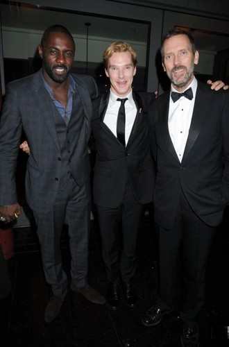 Hugh Laurie with Benedict Cumberbatch and Idris Elba @ GQ MOTY awards