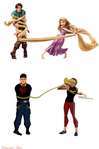 Young Justice karatasi la kupamba ukuta called If Cassie watches Tangled (click pic to enlarge)