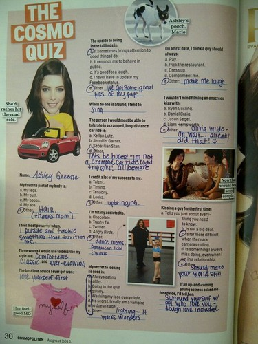 Inside scans of Ashley's feature in Cosmopolitan magazine - USA, August 2012.