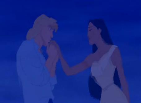 John Kisses Pocahontas' Hand