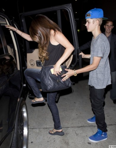 Justin and Selena, yesterday
