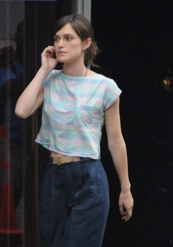 Keira on the set of 'Can A Song Save Your Life' in New York City