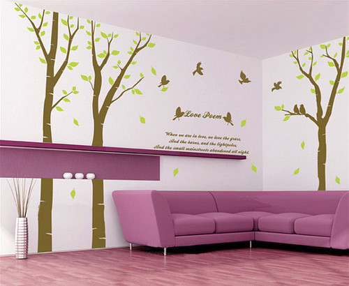 Liebe Poem baum With Birds Wand Sticker