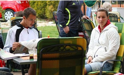 Lukas Rosol and his ex wife Denisa Rosolova (she is athlete) in 2008