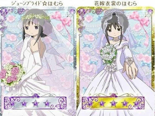 Puella Magi Madoka Magica karatasi la kupamba ukuta probably containing anime called Madoka Wedding Dresses