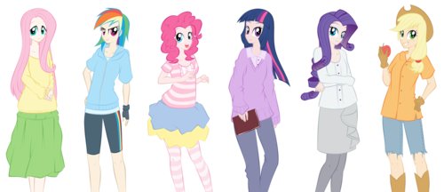 Mane Six Humanized - my-little-pony-friendship-is-magic Fan Art