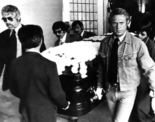 Steve McQueen wallpaper containing a business suit called Bruce Lee's funeral