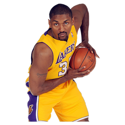 Los Angeles Lakers wallpaper with a basketball, a dribbler, and a basketball player titled Metta World Peace