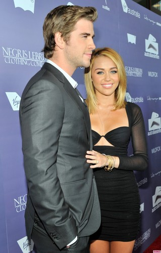 Miley Cyrus and Liam Hemsworth at the Australians in Film Awards & Benefit Dinner
