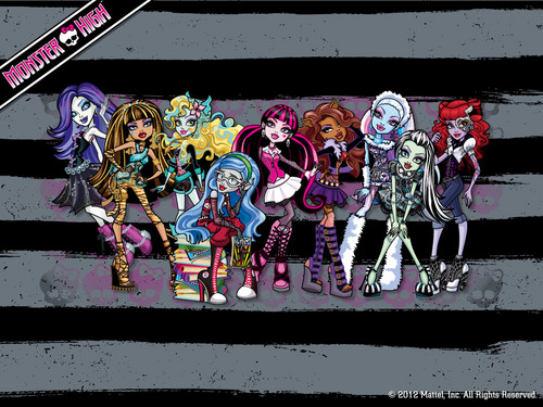モンスター・ハイ 壁紙 probably with a sign titled Monster High Ghouls 壁紙 1024x768