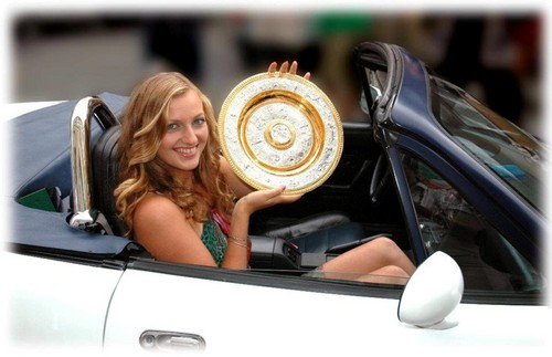 Petra Kvitova in car with wimbledon trophy 2011