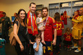 Prince Felipe of Spain poses with Xabi Alonso of Spain and family