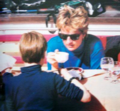 Princess Diana having 차 with Prince William