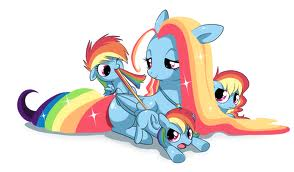 pelangi, rainbow Dash's mom and sisters and herself