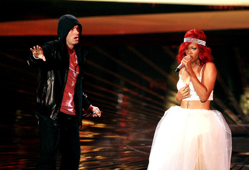EMINEM wallpaper probably containing a bridesmaid and a dinner dress entitled Rihanna, Eminem