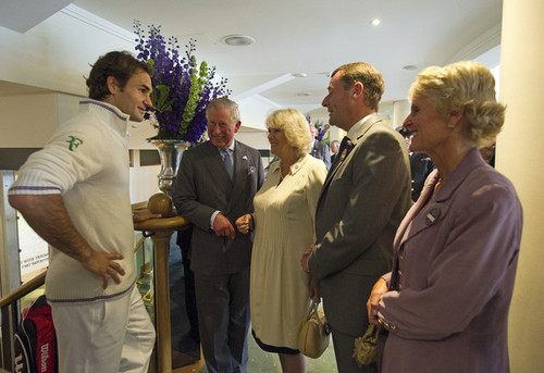 Roger Federer with Prince Charles and Camilla in Wimbledon