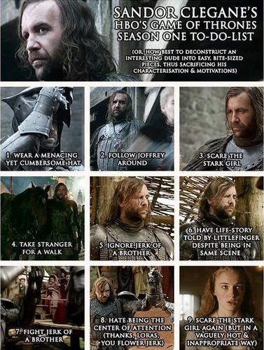 Sandor Clegane's- Season 1 to-do-list