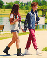 Selena and Justin eating ice cream in the park, CA 6/30/12 - justin-bieber-and-selena-gomez photo