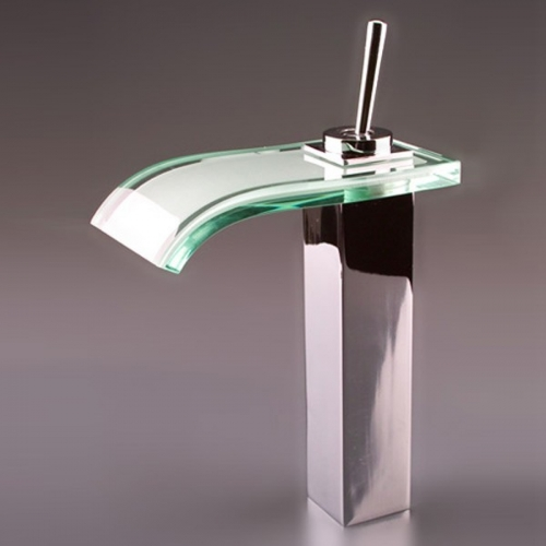 single handle mount glass waterfall cold and hot bath sink faucet