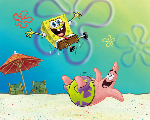SpongeBob SquarePants hình nền possibly with a sign and anime titled Spongebob & Patrick