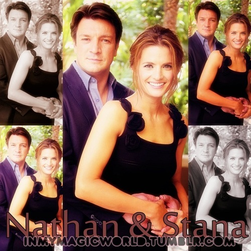 Nathan Fillion & Stana Katic karatasi la kupamba ukuta probably containing a bridesmaid and a portrait titled Stanathan
