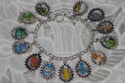 Starter Pokemon Characters charm bracelet