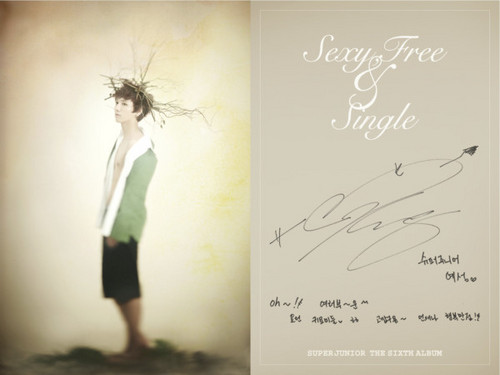 """Super Junior wallpaper probably with a sign and a cocktail dress titled Super Junior Sexy, Free & Single"""" Booklet"""