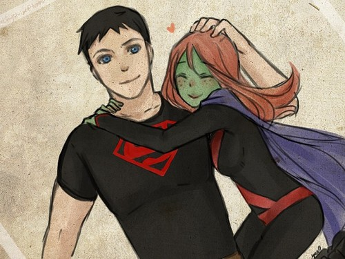 Young Justice karatasi la kupamba ukuta probably with anime entitled Superboy and Miss Martian