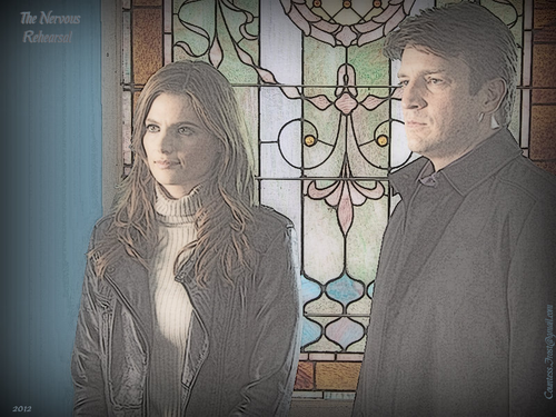 Caskett wallpaper with a stained glass window entitled The Nervous Rehearsal