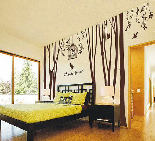 Thick Forest Tree and Birds Wall Sticker