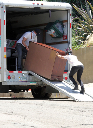 Vanessa - Moving furniture out of her house - June 22, 2012