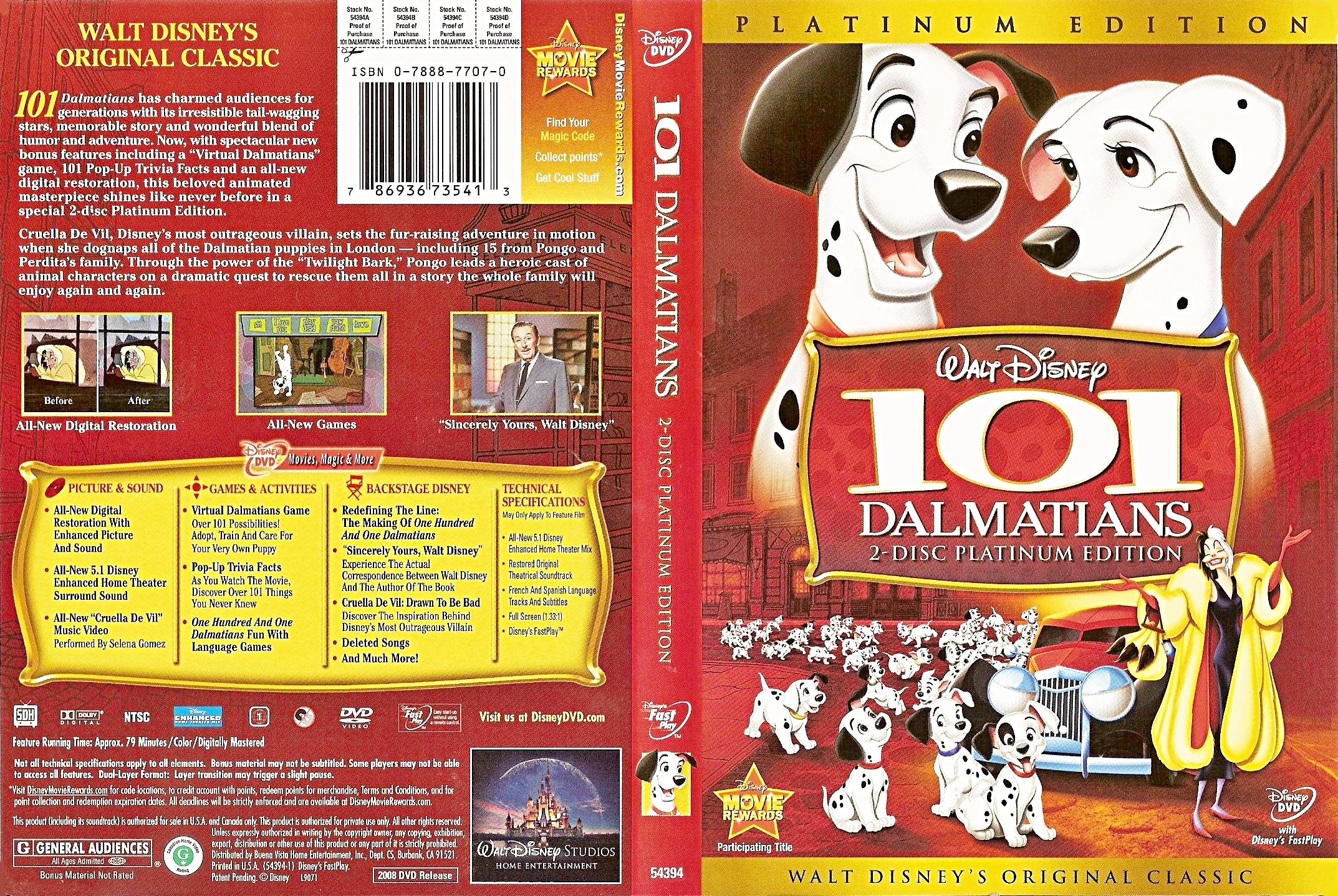 Walt ディズニー DVD Covers - 101 Dalmatians: 2 Disc Platinum Edition