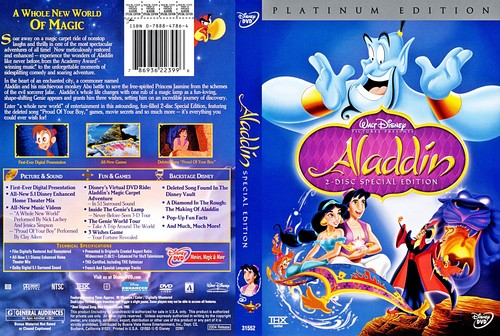 Walt Disney Characters achtergrond possibly containing anime entitled Walt Disney DVD Covers - Aladdin: 2 Disc Platinum Edition