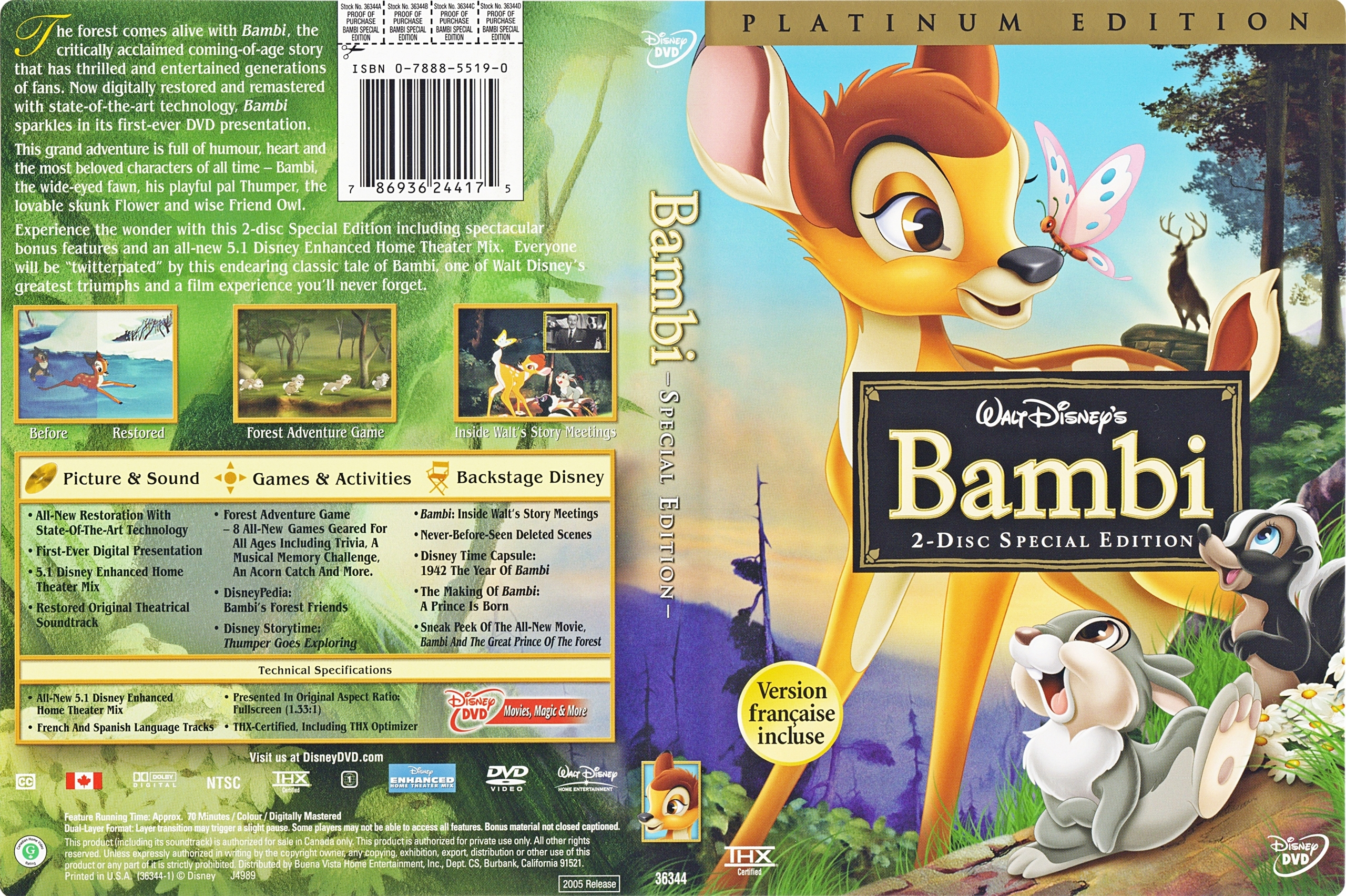 Walt Disney DVD Covers - Bambi: 2 Disc Platinum Edition