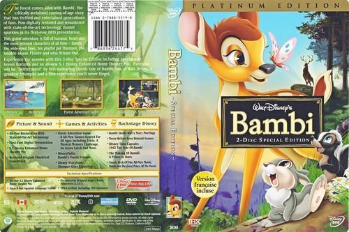 karakter walt disney wallpaper probably containing a sign, a newspaper, and anime called Walt disney DVD Covers - Bambi: 2 Disc Platinum Edition
