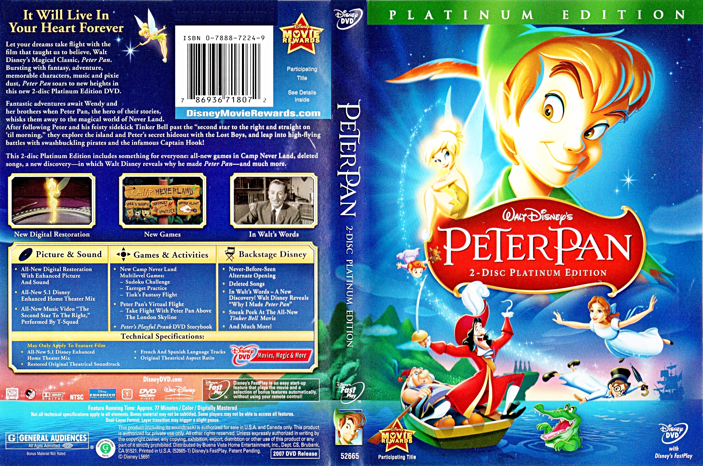 Walt Дисней DVD Covers - Peter Pan: 2 Disc Platinum Edition