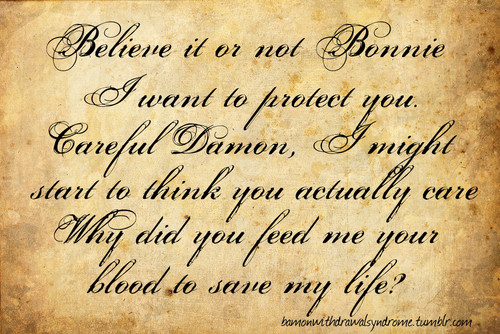 Damon & Bonnie wallpaper entitled bamon quotes and moments photoset (2 pic)