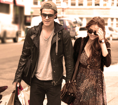 Paul Wesley and Nina Dobrev پیپر وال with sunglasses and a business suit titled dobsley