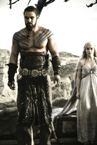 Game of Thrones wallpaper containing a hip boot called Daenerys Targaryen & Khal Drogo