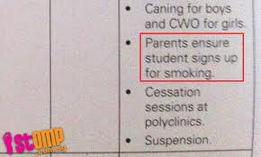 parents, please ensure your student signs up for.......smoking?