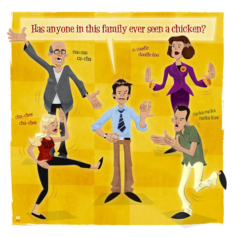 "Arrested Development wallpaper entitled ""Bluth Family Chicken Dance"" by Ian Glaubinger"